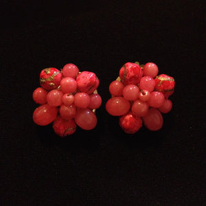 Vintage Pink Glass Bead Cluster Clip on Earrings